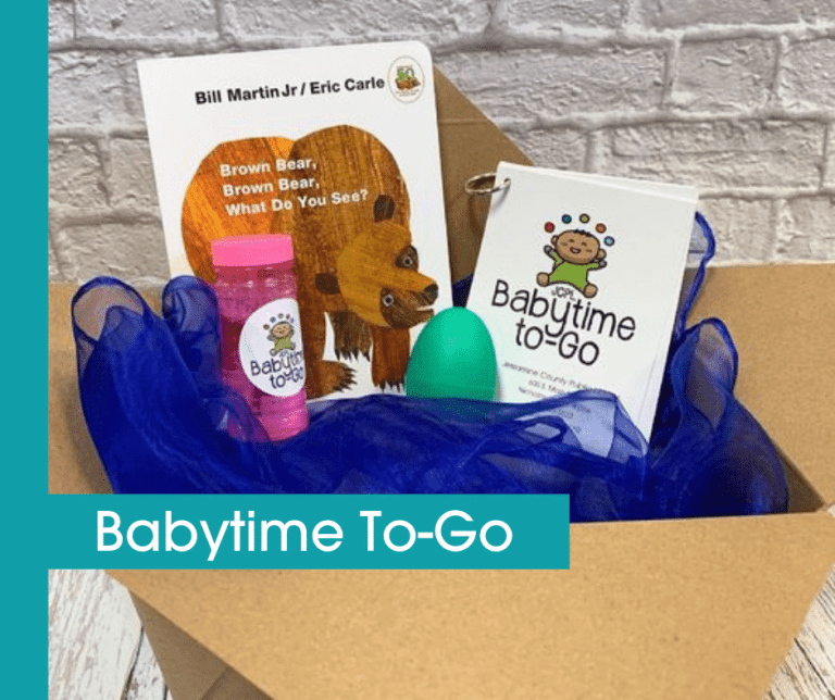 babtime to-go kit featuring a board book, bubbles, an egg-shaker instrument, and cards