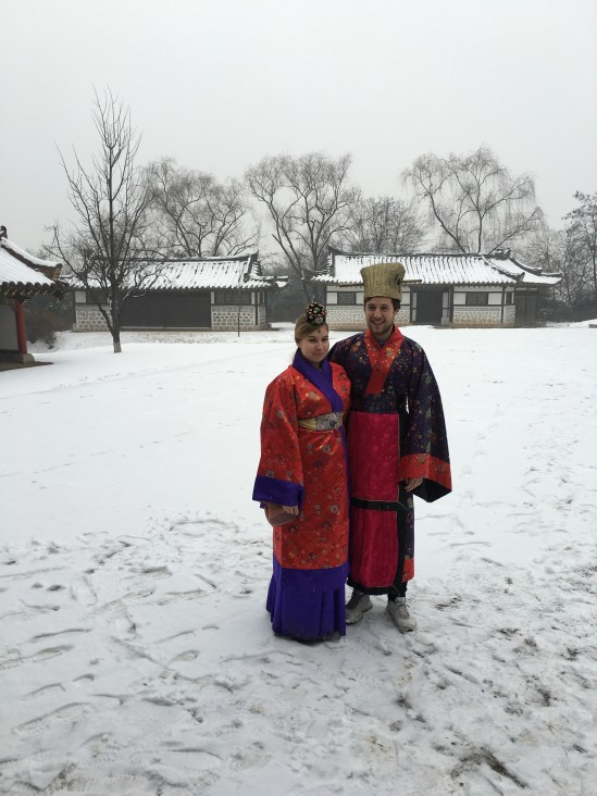 Trying on some traditional Korean costumes