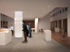 Foyer mit Begrüßung durch LED-Laufschrift