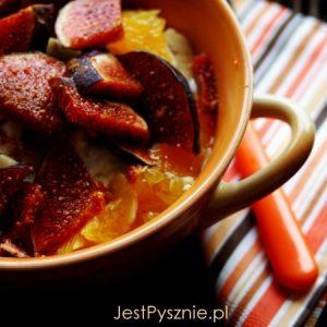 Melon z szynką i mozarellą z cytrynowym sosem winegret