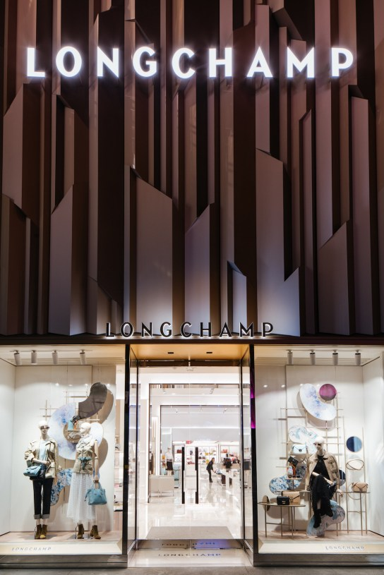 Longchamp NYC Manhattan New Store entrance at night