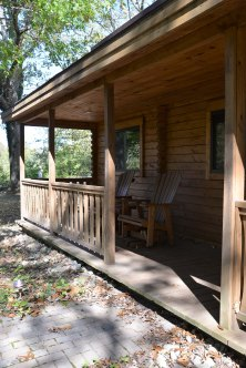 The front porch of the cabin, which overlooks the Little Miami River.