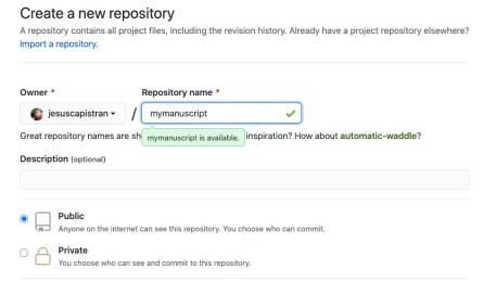 Creación de un repositorio nuevo en GitHub.
