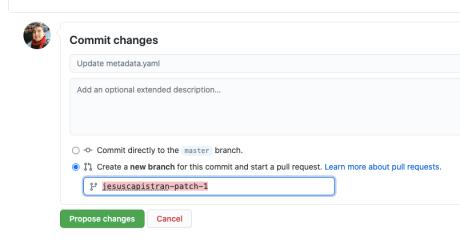 Proponer cambios al proyecto mediante una nueva rama (Branch)