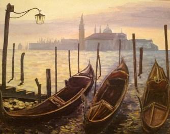 """""""Góndolas venecianas"""". Óleo sobre tabla, 33 x 40 cm."""