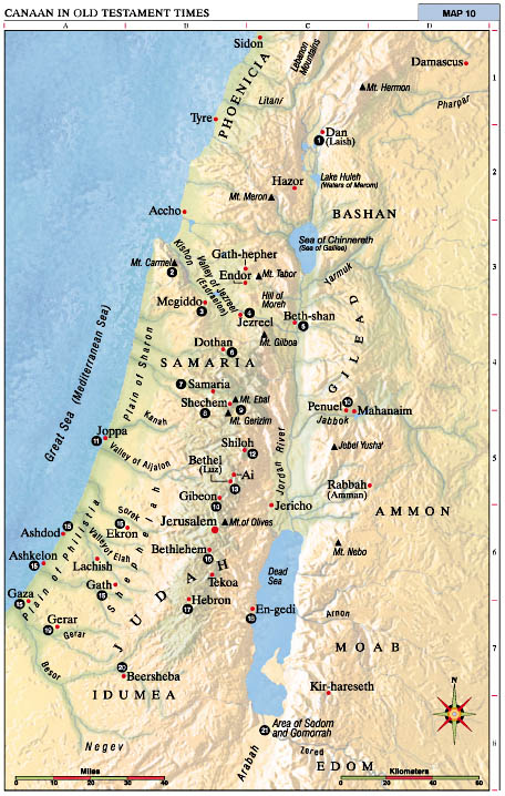 Canaan in Old Testament Times - Map
