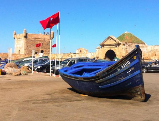 boat, flags, gate. Essaouira, Morocco