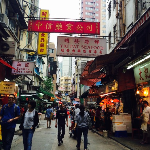Central street with chinese signs