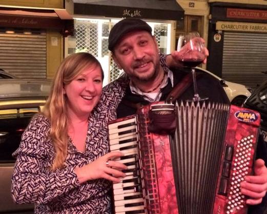 Lily with accordion player in Montmartre
