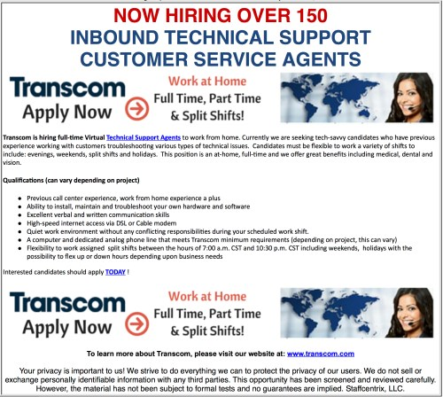 150 Open Positions Inbound Tech Support Customer Service