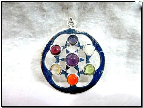 flower of life chakra metal pendant