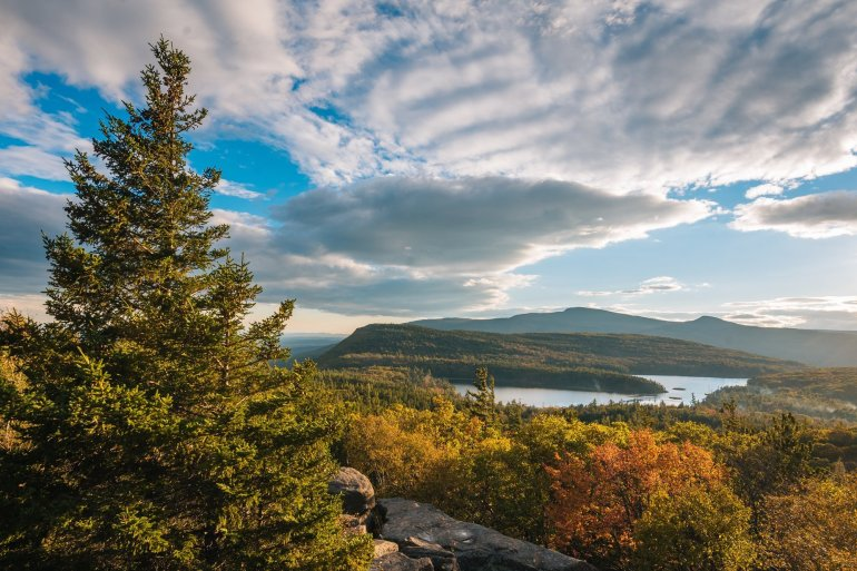Autumn color and view of North-South Lake, from Sunset Rock, in the Catskill Mountains, New York