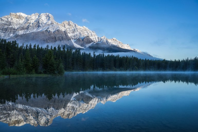 Mt. Rundle reflected in Two Jack Lake.