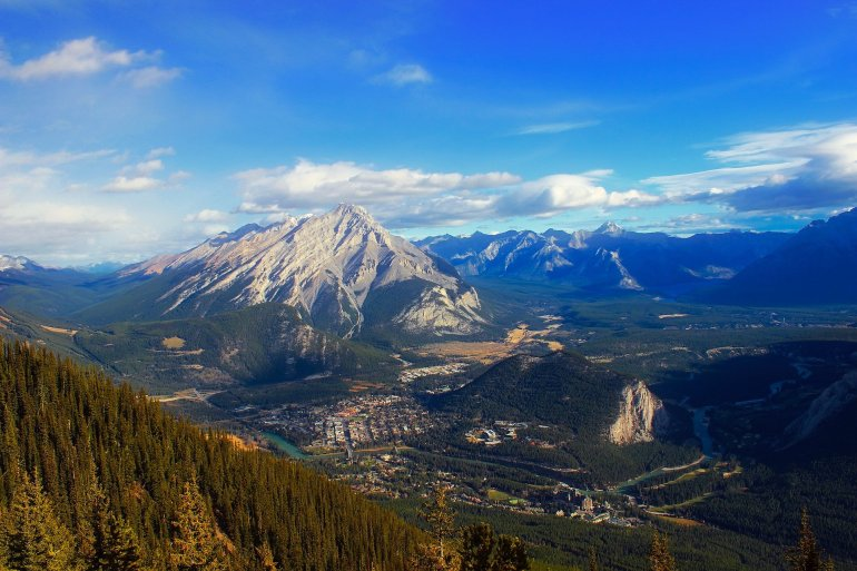 A view of the town of Banff from the top of a nearby mountain.