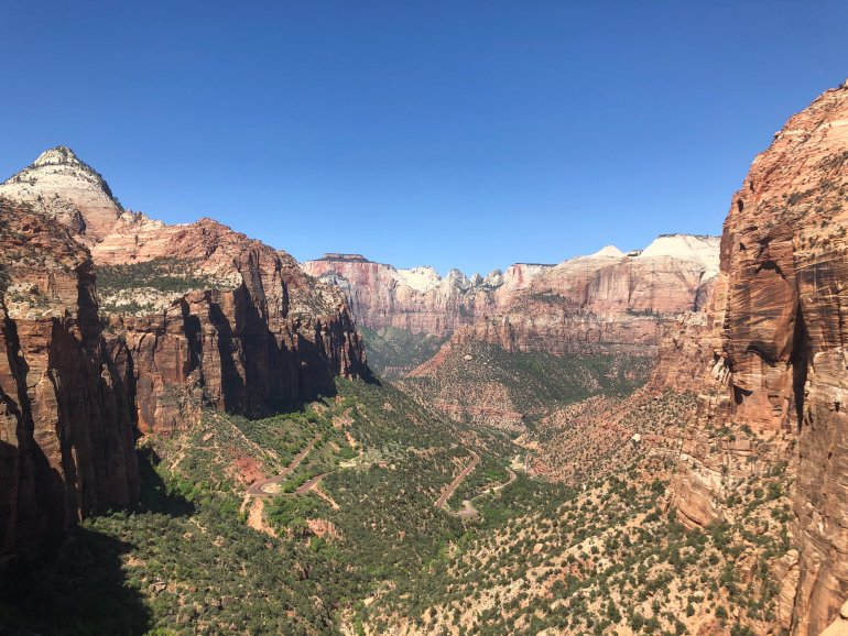 A view of the canyon floor on one of the hiking trails in Zion National Park.