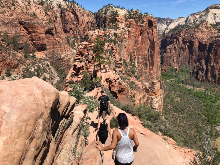 A view of the narrow trail and steep drop-offs on Angels Landing