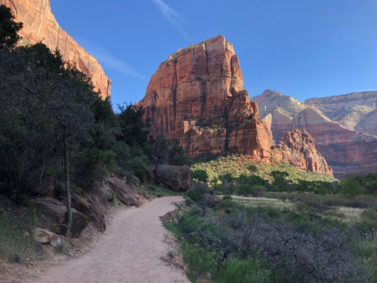 Angels Landing, as seen from the beginning of the hiking trail.