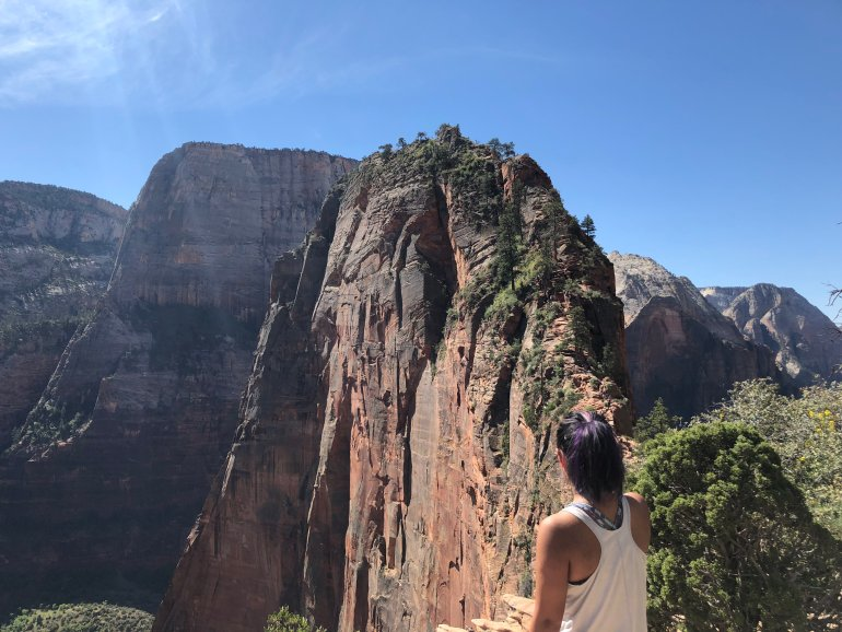 The author in front of Angels Landing, a popular hike in Zion National Park.