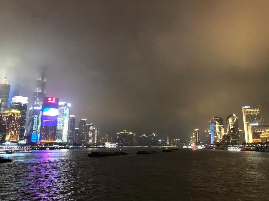 River views at the Bund. Night sky in Shanghai
