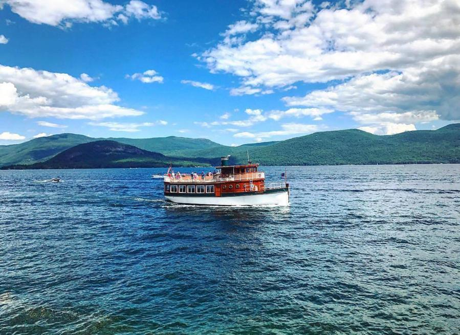 Boat on Lake George New York. One of the stops on a USA road trip