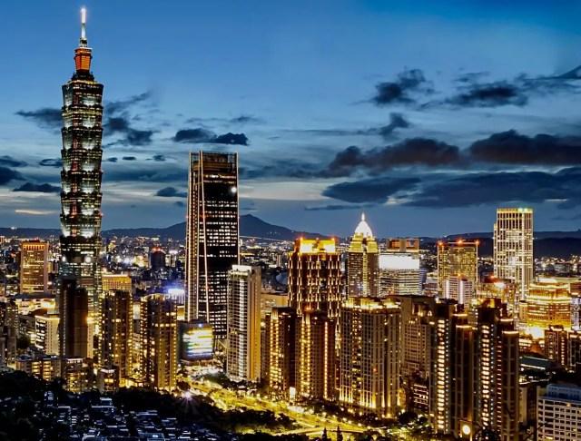 Night sky view of Taipei, Taiwan and the Taipei 101 tower
