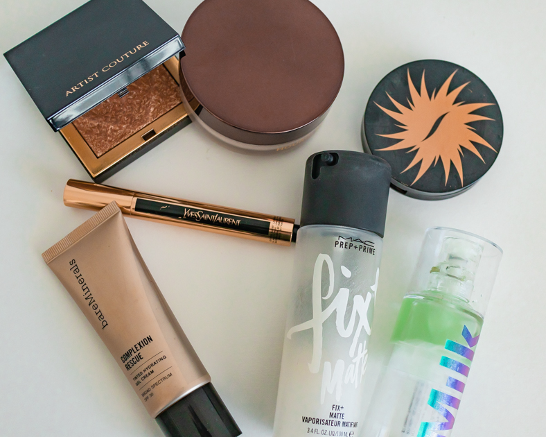 Picture of travel makeup bag essentials  for the face