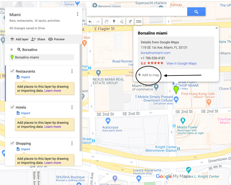 "Arrow pointing to ""Add To Map"" selection on Google Map."