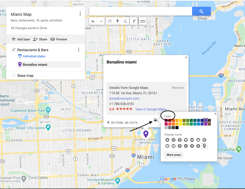 Arrow pointing to the colors for color coding in the Google Maps planner