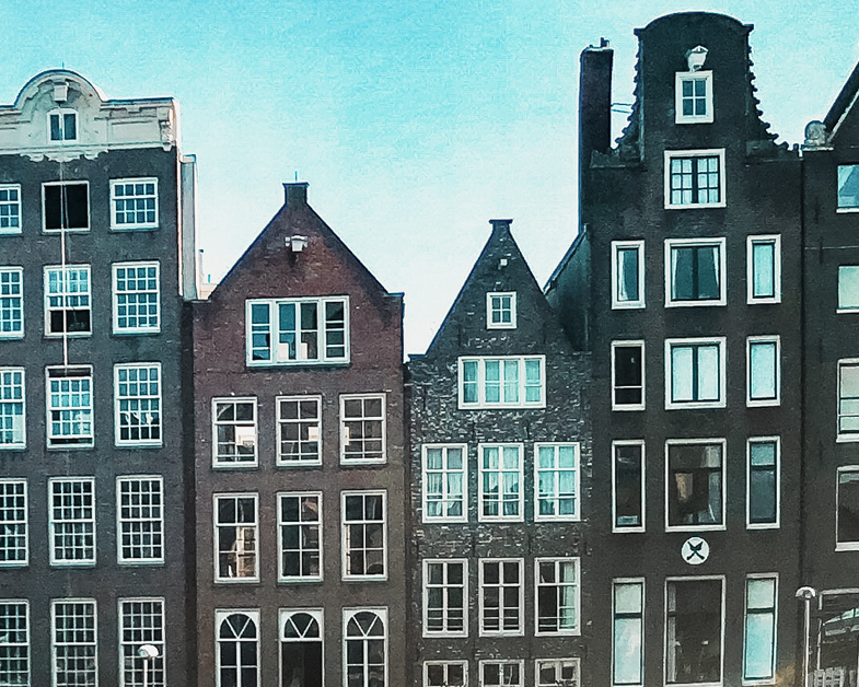 Picture of the gingerbread homes in Amsterdam