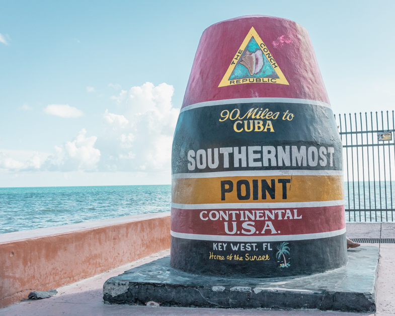 Picture of one of the top Key West attractions the Southermost Point buoy.