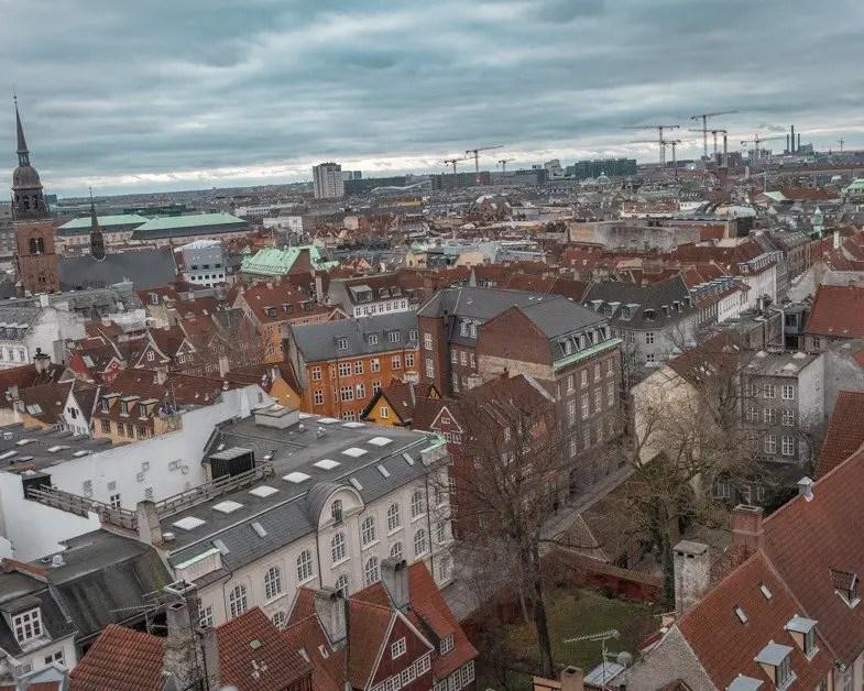 Ariel view Copenhagen from the Round Tower