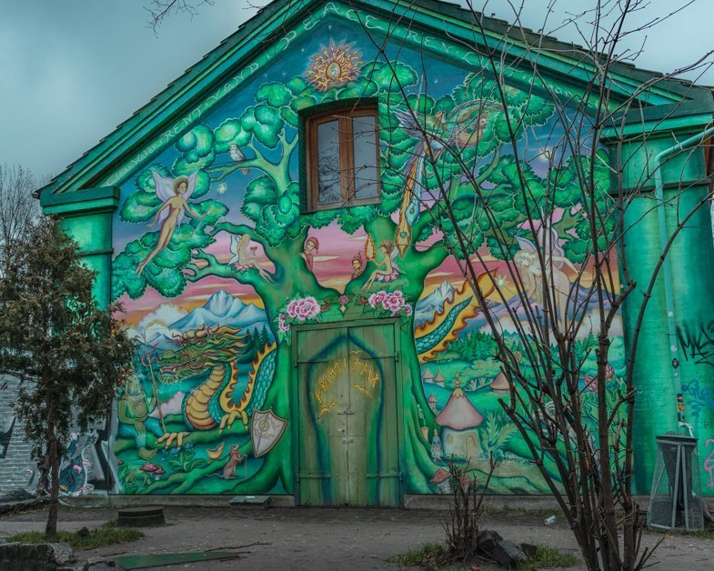 Picture of a colorful house in Christiana. in Copenhagen