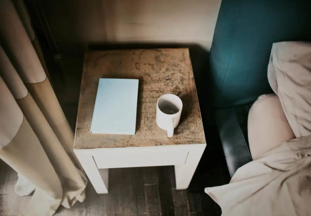 picture of a nightstand at a hotel