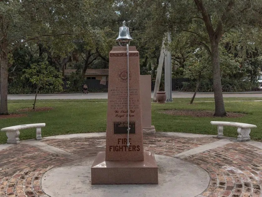 monument outside of the Fort Lauderdale Fire and Safety Museum.