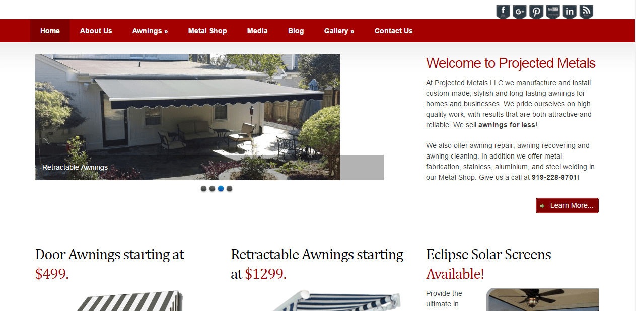 projected-metals, raleigh, awning