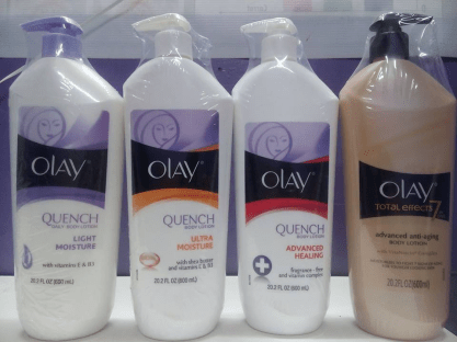 P155 (Olay Quench Advanced Healing, Soothing Cucumber, Luscious Embrace, Quence Skin Firming, Quench daily body lotion, Total Effects, Advance Healing & Ultra Moisture