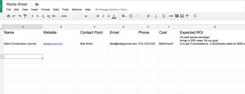 Google Sheets example