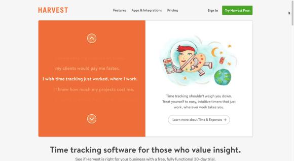 Image of Harvest's website