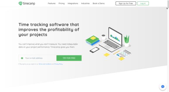 Image of Timecamp's website