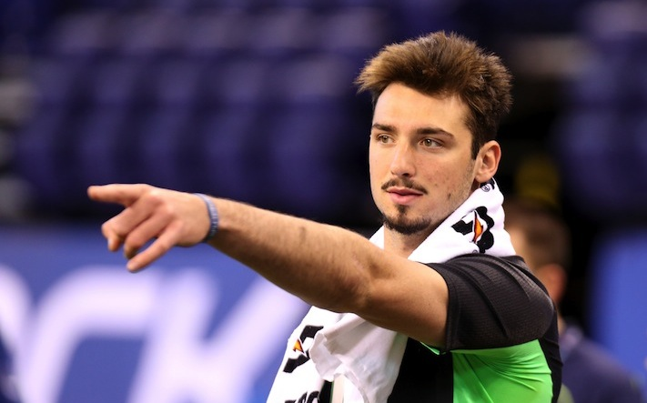 Memphis quarterback Paxton Lynch is seen at the NFL football scouting combine Saturday, Feb. 27, 2016, in Indianapolis. (AP Photo/Gregory Payan)