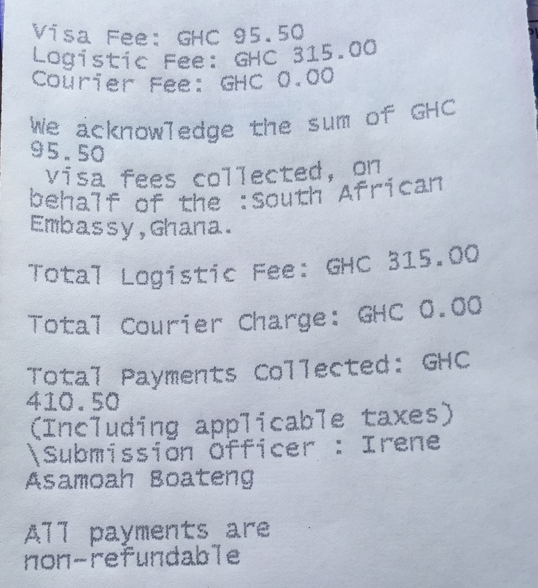 Copy of receipt issued by VFS for a South Africa visa application