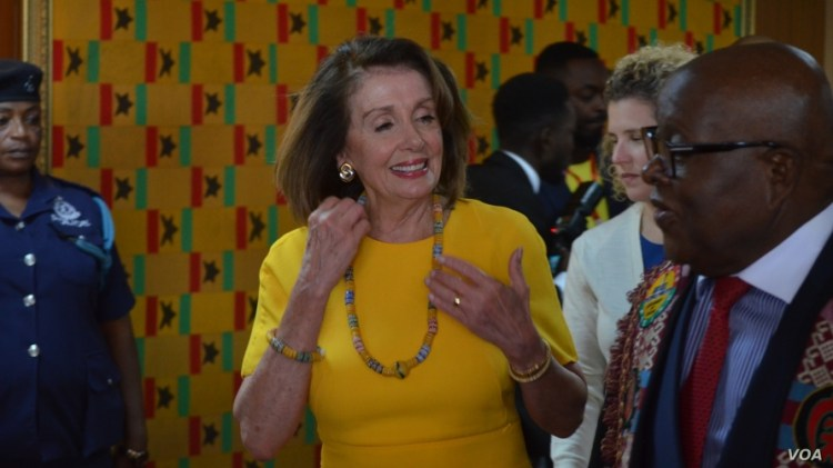 US House Speaker Nancy Pelosi wears some Ghanaian beaded jewelry during her visit to Accra