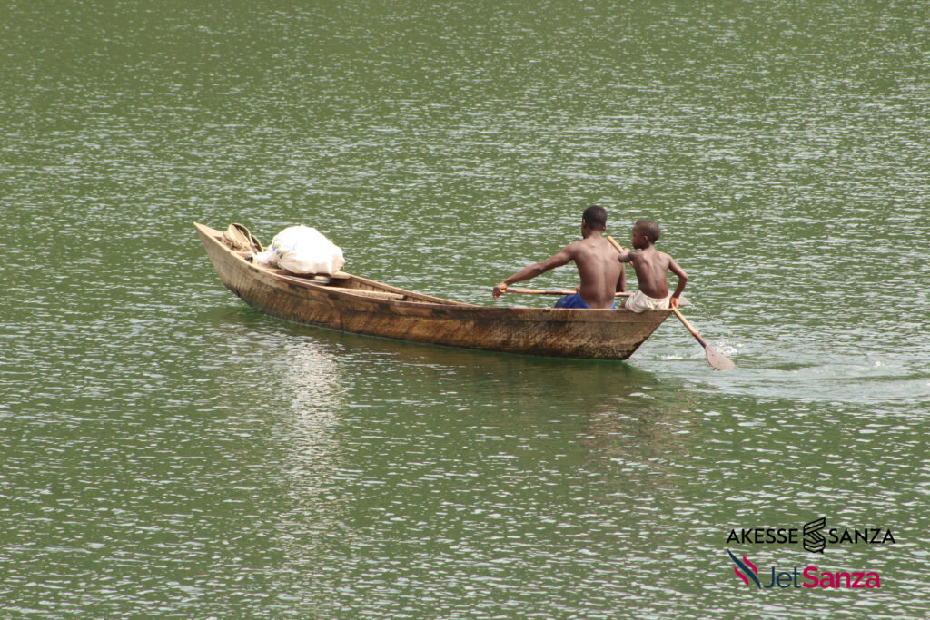 Residents commute on boat