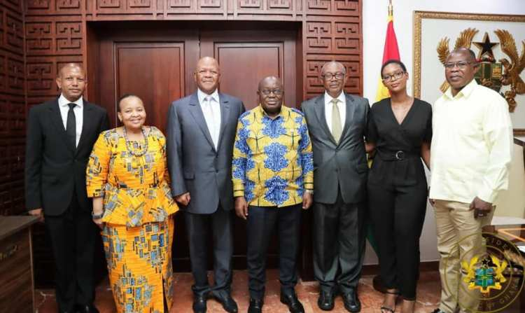Hon. Jeffrey Thamsanqa Radebe, a Minister of State at the Office of the South African Presidency meets President of Ghana Nana Akufo Addo