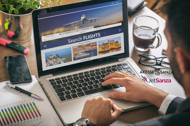 Flights online booking and reservation. Man working with a computer, search flights on the screen, office business background.