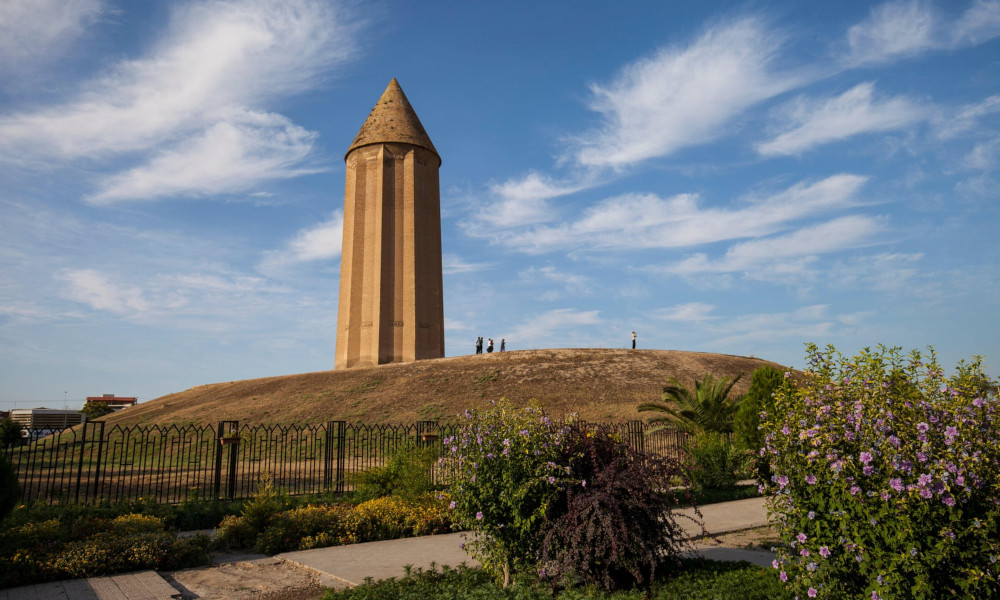 Gonbad-e Kavus tower in Golestan, Iran. Photograph: Image Professionals GmbH/Alamy Stock Photo