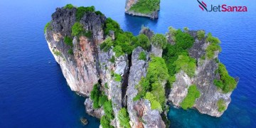 Aerial view shot from drone on the seascape at Phuket