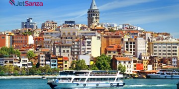 Cityscape of Istanbul with the view on Galata Tower and boats in Golden Horn bay, Turkey
