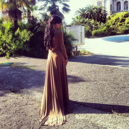Camel long dress