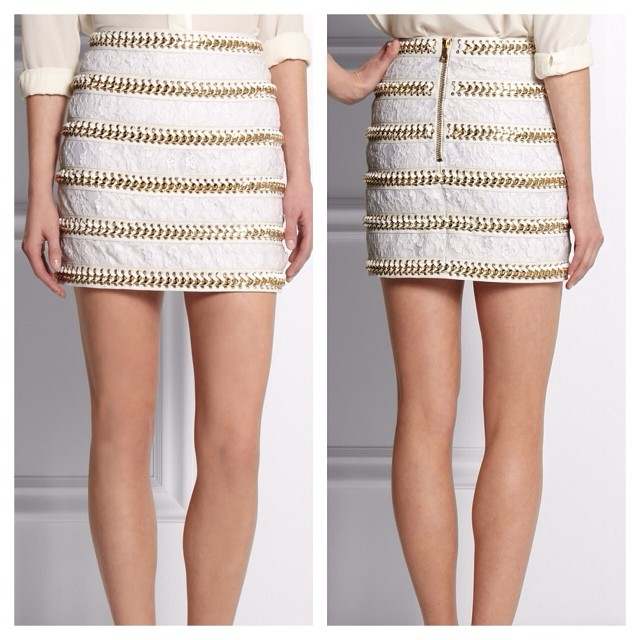Balmain Lace & Leather Skirt